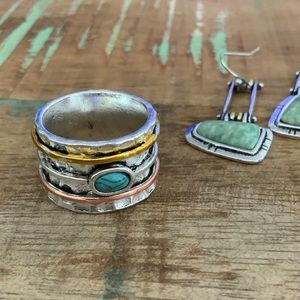 Distressed Natural Stone Tri Color Band Ring